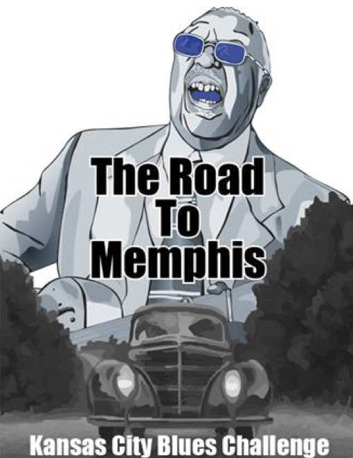 Road to Memphis graphic showing WC Handy and a 1930s automobile