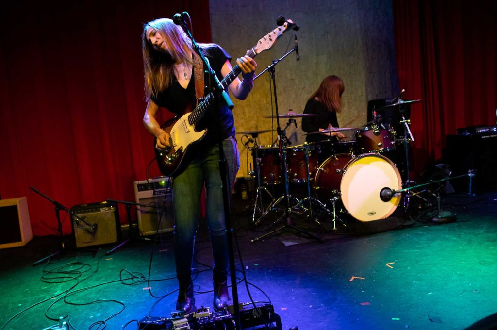 Womanish Girl band, Katy Guillen, guitar, and Stephanie Williams, drums